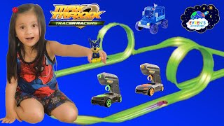 Max Traxxx Tracer Racer Glow in the Dark RC Dual Loop Set biggest Track Challenge Evren ToysReview