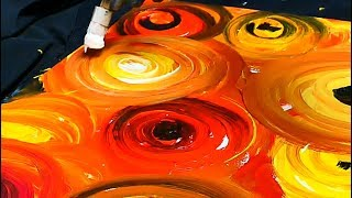 Simple Abstract Painting Circles Using Acrylic Paint Brush Canvas