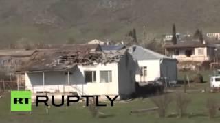 Кадры с последствиями обстрелов в Нагорном Карабахе