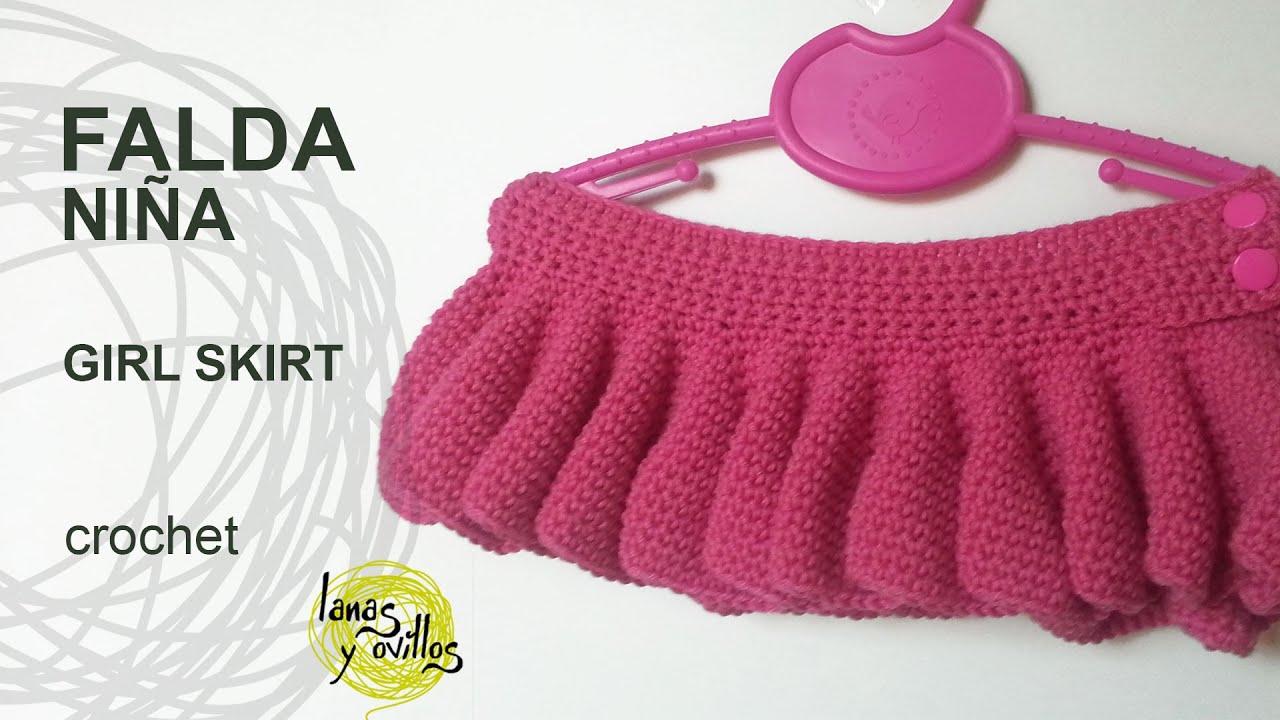 Tutorial Falda Niña Fácil Crochet o Ganchillo (todas las tallas ...