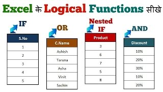 Excel Logical Functions  IF AND OR NESTED IF in Hindi By TeachToeach