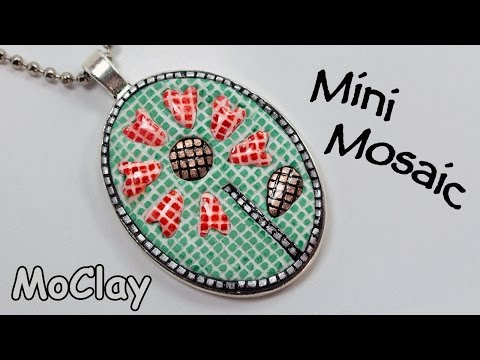 How to make micro mosaic jewelry. Polymer clay tutorial.