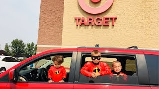 Incredibles Kids Drive To Store! Dash and Jack Jack