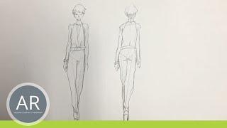 Modeskizze - Vorder- und Rückansicht einer Figur