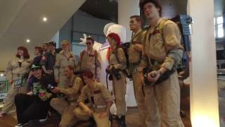 visiting with some cosplayer the new ghostbusters movie in theater