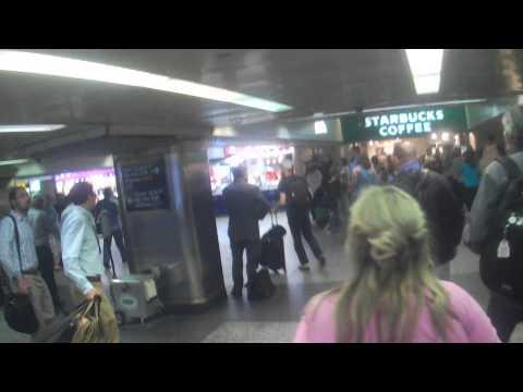 Leaving Long Island Railroad Train at Penn Station in Manhattan