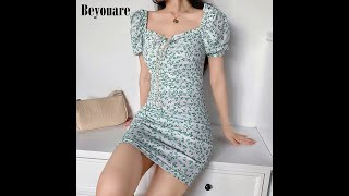 Женское платье карандаш с квадратным воротником beyouare летнее облегающее винтажное рукавами