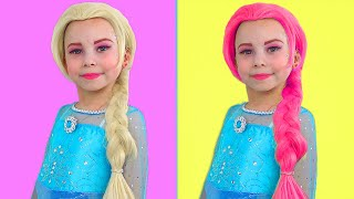 Alice makes a new Haircut and colored hair for Princesses Elsa and Anna