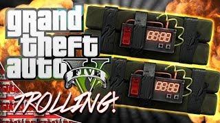 GTA 5 ONLINE - Sticky Bomb Reactions (HILARIOUS GTA TROLLING)