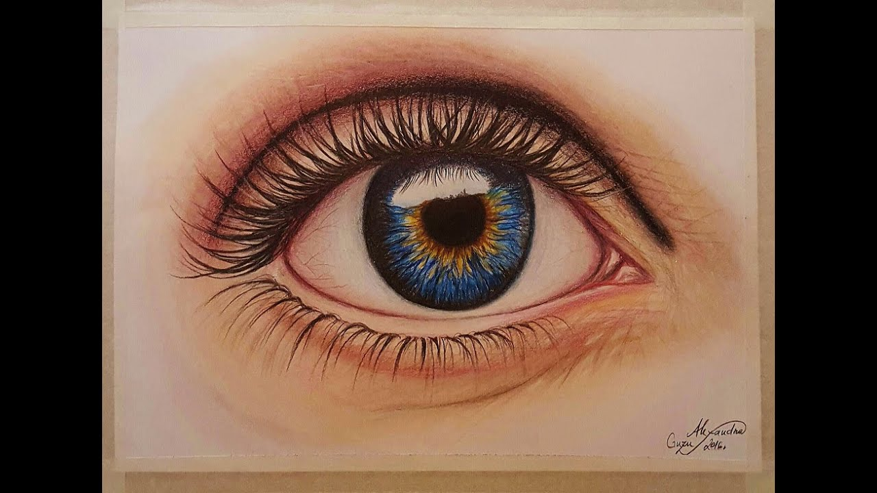 How i draw paint realistic eye super speed video colored pencil and pastel