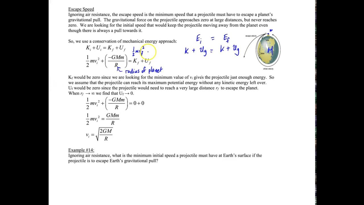 Chapter 6, Escape Velocity and Example #14 - YouTube