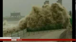 GIANT WAVES BATTER CHINA  - BBC NEWS
