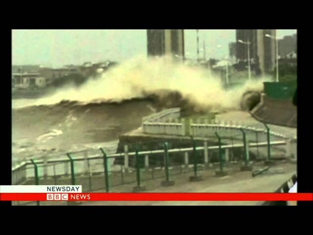GIANT WAVES BATTER CHINA  - BBC NEWS