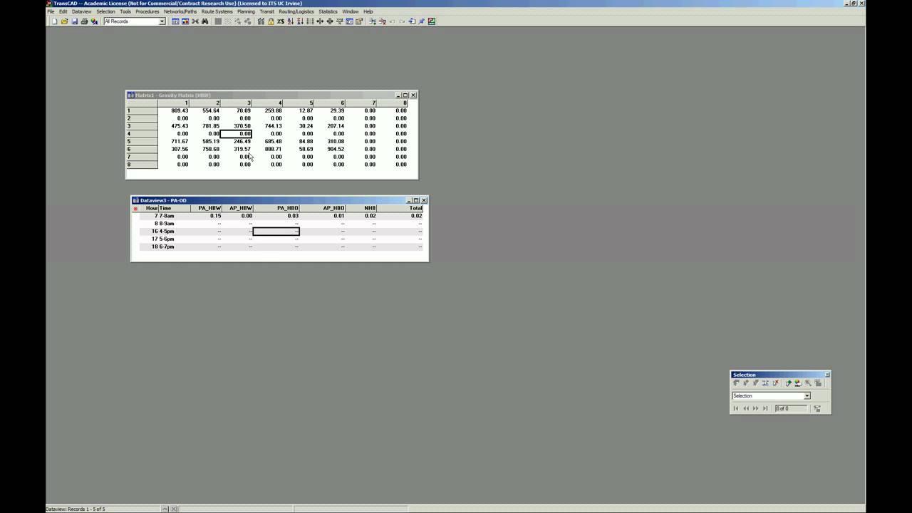 Transforming a PA matrix into an OD matrix using TransCAD 5 0