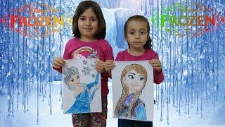 Disney Frozen Anna and Elsa Princess of Arendelle paint challange