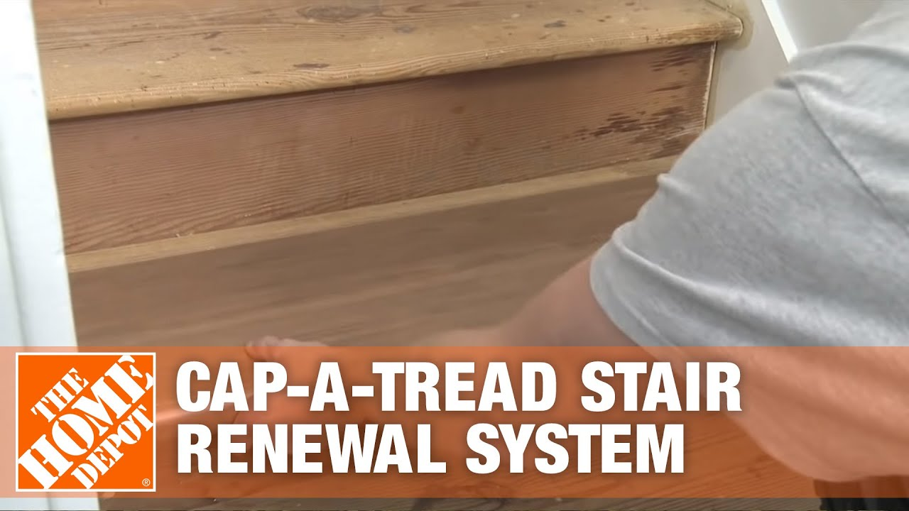 How To Install Cap A Tread Stair Renewal System The Home Depot   Prefinished Stair Treads Home Depot   Stair Parts   Natural Maple   Risers   White Oak Stair   Unfinished Maple