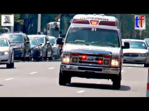 Superior Ambulance Responding Code 3 to Henry Ford Hospital, Detroit, USA, 08/12/2016.