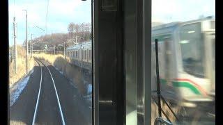 安達駅~松川駅間を走行する東北本線下りE721系の前面展望