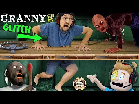STUCK In GRANNY'S FLOOR! + Puppet Vs Grandpa (FGTeeV Glitches The Games) GRANNY Chapter Two ESCAPE