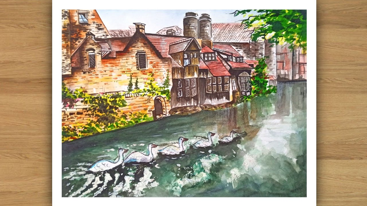 Beautiful landscape drawing with watercolor.