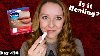 Vaseline Lip Therapy Rosy Lips Stick Review | Dollar Tree Makeup | Day 430 of Trying New Makeup