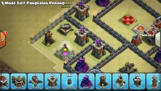 The strongest war base: Base war TH 9 terkuat (replay attact) April 2017 - tipe 45