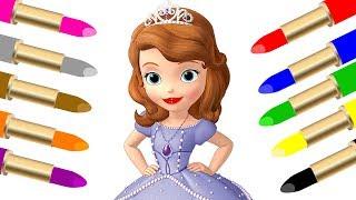 Lern colors with Sofia the first Colorful lipstick Учим цвета на английском языке София прекрасная