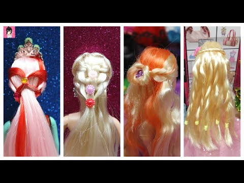 Thử làm 4 kiểu tóc trên mạng cho búp bê / DIY Barbie Hair Tutorial Ami DIY