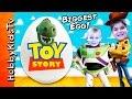 Biggest Toy Story Surprise Eggs! Best Buzz + Woody Toys Space Rocket Battlesaurus Hobbykidstv video