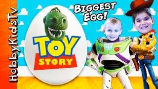 Biggest TOY STORY Surprise Eggs! Best BUZZ + WOODY Toys Space Rocket Battlesaurus HobbyKidsTV