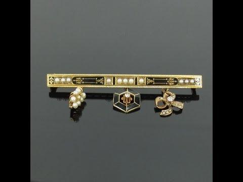 Antique 0.06ct Diamond Natural Pearl & Enamel 14K Rose & Yellow Gold Charm Bar Pin