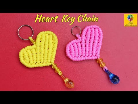 Simple Macrame Key Chain / waste Macrame Heart Shaped keychain with Piping Knot / Macrame Knot