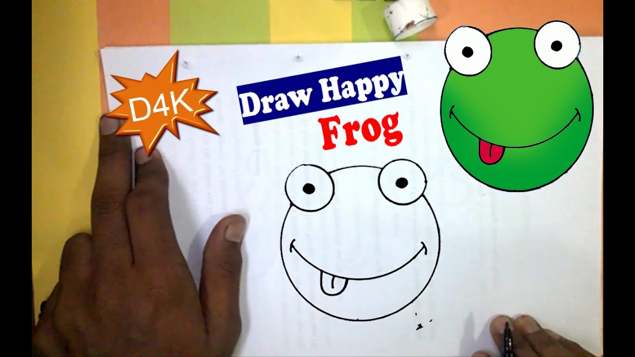 How to Draw A Smilling happy Frog Toad for kids easy step ...