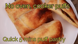 No oven puff recipe - Quick puff pastry - Snacks recipe - Quick evening snacks - Snacks for kids