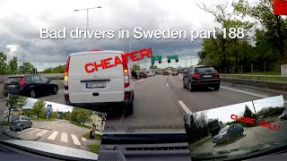 Bad Drivers in Sweden #188 Close calls, cheaters and dangerous drivers