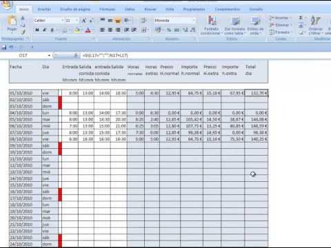 horas mensuales plantilla excel control horas trabajadas - YouTube