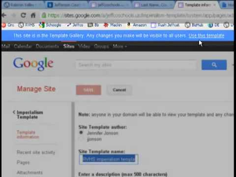 Creating and Managing a Site Template in Google Sites - YouTube