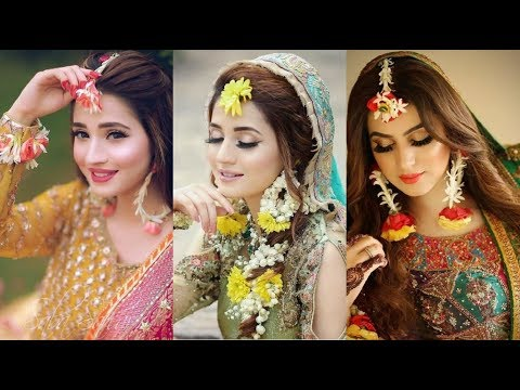 Latest dress jewelry and makeup idea's for mehndi bride||Best bridal wear for mehndi