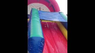 Bubbles (dish Detergent) Added To Large Inflatable Water Slide! Birthday Party Fun!