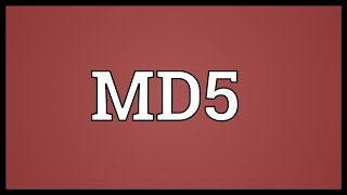 MD5 Meaning