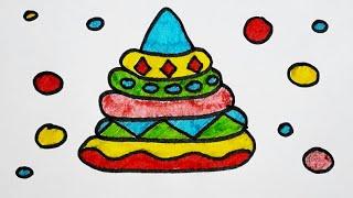 Рисуем пирамидку. Раскраска для детей. Видео рисунки. Учимся рисовать.