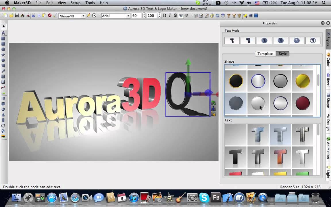 Make 3d text logo on mac aurora 3d maker animation 3d creator free