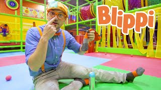 Blippi Learns The Five Senses For Kids | Learning WIth Blippi At An Indoor Playground | Educational