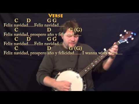 Feliz Navidad (CHRISTMAS) Banjo Cover Lesson in G with Chords/Lyrics - G C D Em