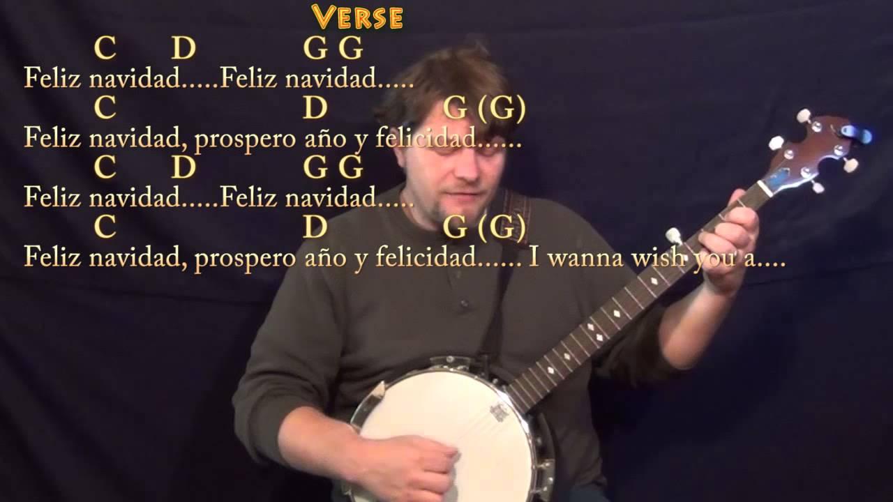 Feliz Navidad Christmas Banjo Cover Lesson In G With Chordslyrics