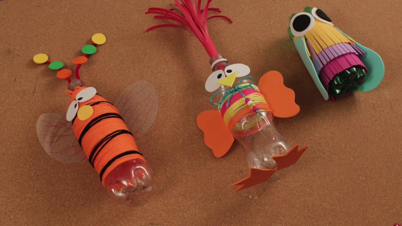 Como hacer juguetes con papeles de colores y botella de - Manualidades con vasos de plastico ...