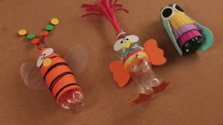 ¿ Como hacer Juguetes con papeles de colores y botella de plástico ? Manualidades para Niños