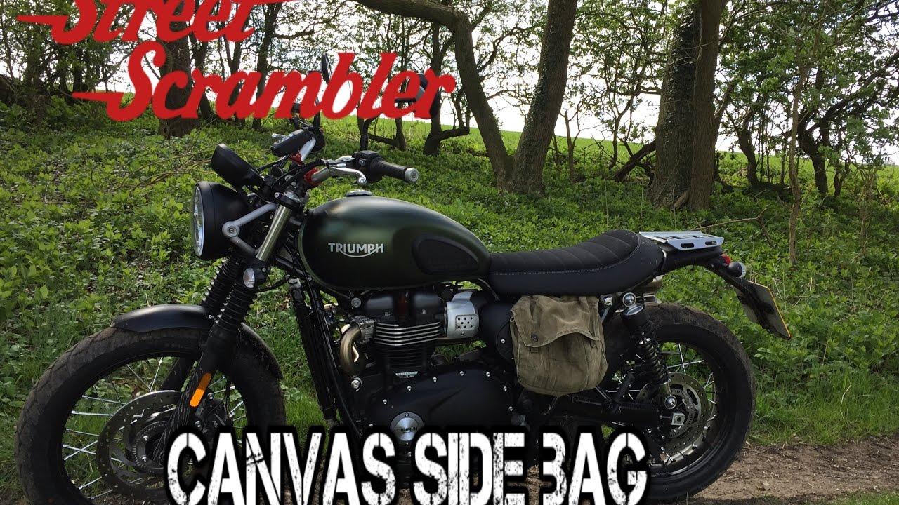 triumph street scrambler - canvas side bag pannier - youtube