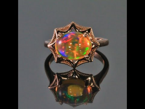 14K Rose Gold Oval Opal Cabochon Ring