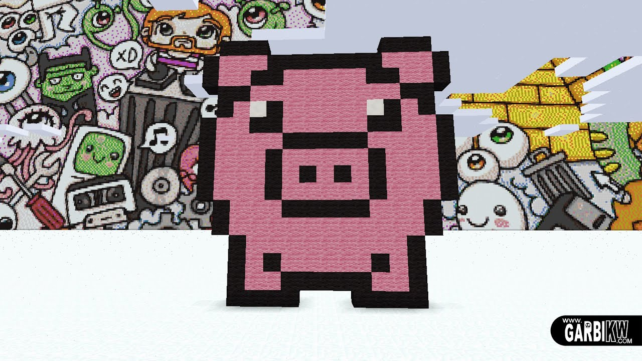 Minecraft Pixel Art How To Make A Cute Pig By Garbi Kw